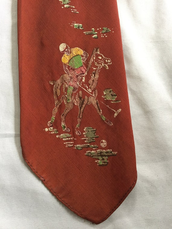 Vintage 40s Painted Classic Polo Hand Painted Tie