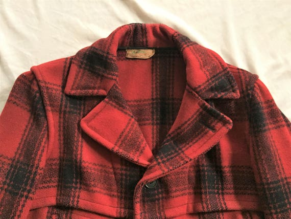 VIntage 40s The Bay Sportswear Red Black Plaid Mac