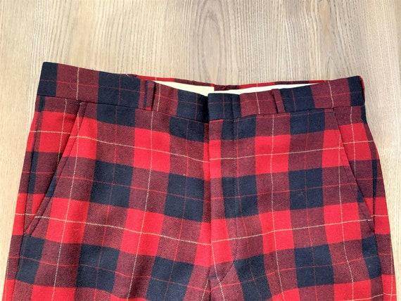 Vintage 80s Neil's Blue Red Plaid Pants 35x31 - image 1