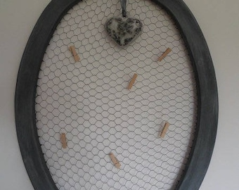 Oval photo frame and its heart Angel plaster scented
