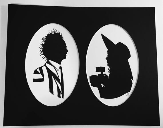 Beetlejuice And Lydia Silhouette Print Etsy