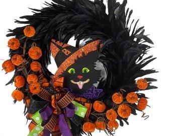 Halloween Black Cat wreath, black Feather Wreath, Halloween wreath for front door