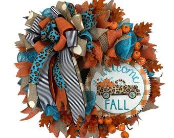 Fall truck wreath, turquoise and orange ,cheetah print truck ,WELCOME FALL  sign