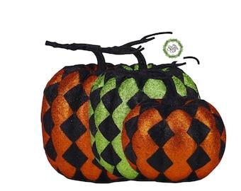Halloween Pumpkin ,glitter harlequin pumpkin,  two sizes, orange/black, green/black