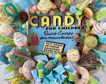 Sweetshop wreath, candy swag, fake bake candy shop, light blue confection