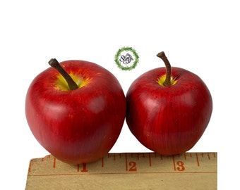 Small red apples, lady apples, faux fruit, available in 2 sizes , set of 6