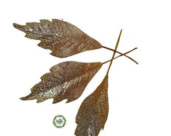 Glitter leaves, Rose gold ombré glitter leaves , set of 12