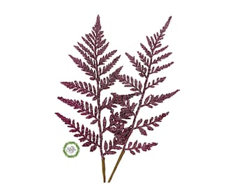 Glitter fern, Christmas decorations, craft supplies for wreath makers, hot pink fuchsia