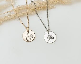 Boho Dreams Disk Necklace, Cactus, Rainbow, Hand Stamped Jewelry