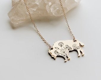 Wildflower Bison Necklace, Buffalo, Hand Stamped Necklace