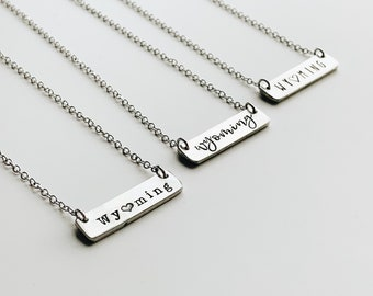 Wyoming Bar Necklace, Minimal Jewelry, State Jewelry, Hand Stamped, Personalized