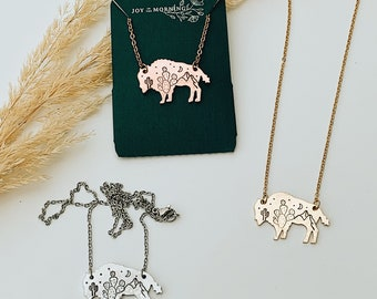 Western Legends Bison Necklace, Buffalo, Hand Stamped Necklace, Cactus