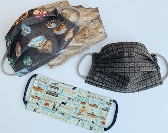 Cloth Face Mask, National Parks Mask, 100% Cotton Mask, Filter Pocket Face Mask, Soft Nylon Ear Loops, Comfortable Mask