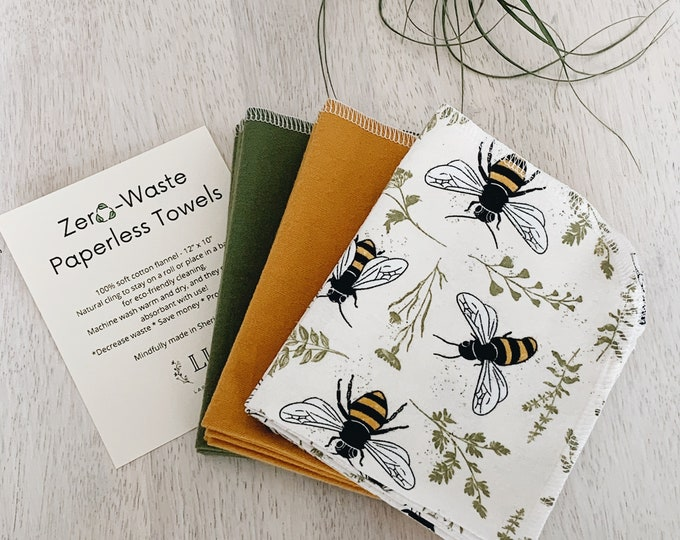 Featured listing image: Paperless towels, Eco-Friendly cleaning, Zero-Waste home, Cloth napkins, 100% cotton flannel towels