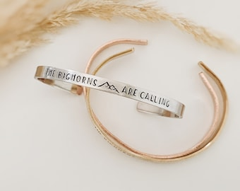 The Mountains are Calling Skinny Metal Cuff Bracelet