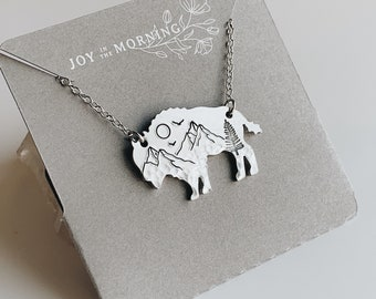 Mountain Bison Necklace, Buffalo, Hand Stamped Necklace