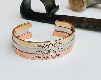 True North Mountain Metal Cuff Bracelet