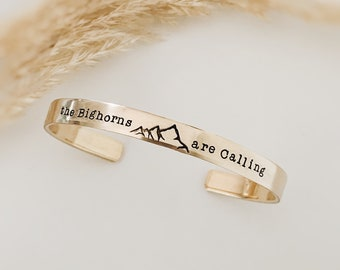 The Mountains are Calling Metal Cuff Bracelet