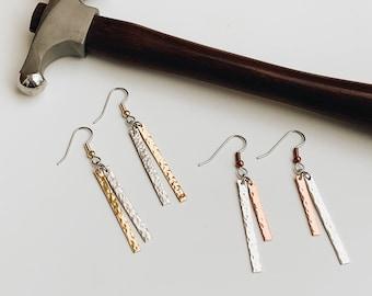 Simply Minimal Hammered Metal Dangle Earrings