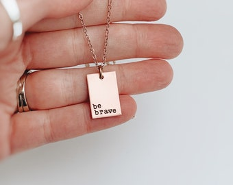 Be Brave Tag Necklace