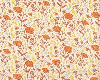 Poppies Cream, Organic Cotton, Mustard Beetle for Birch Organic Fabrics, The Wild Coast