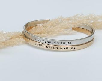Live Love Wander Skinny Cuff, Adventure Bracelet