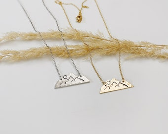 Mountain Rise Necklace, Hand Stamped Necklace