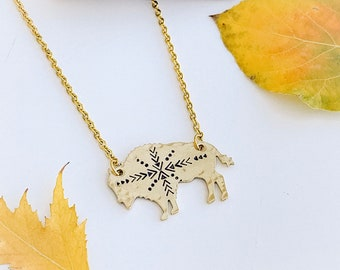Aztec Bison Necklace, Buffalo, Hand Stamped Necklace