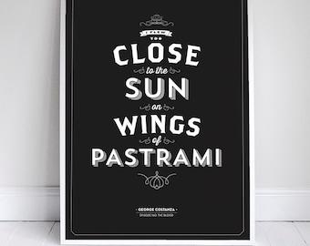 "Wings of Pastrami 11x17"" - Seinfeld Quote Print - Vintage Retro Typography"