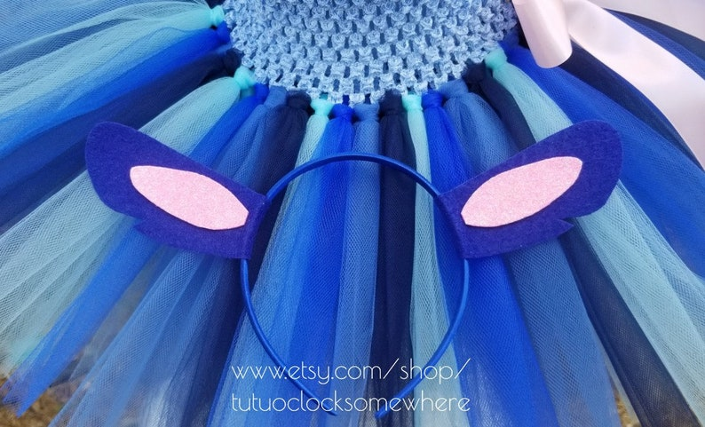 2-Piece Set Stitch Tutu Dress Stitch Headband First Birthday Party Birthday Outfit Hawaiian Hawaii Luau Lilo Halloween Baby Infant Toddler