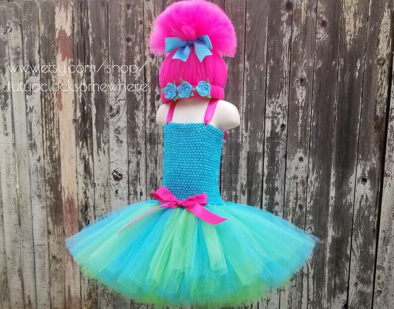 34eefdb5b221b 2-Piece Set Poppy Tutu Dress Poppy Wig Troll Headband | Etsy