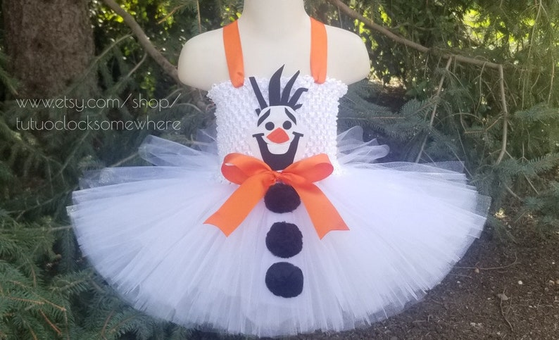 Olaf Tutu Dress Snowman Frozen Elsa Anna Winter First Birthday Party Birthday Outfit Cake Smash Halloween Costume Baby Infant Toddler Girl