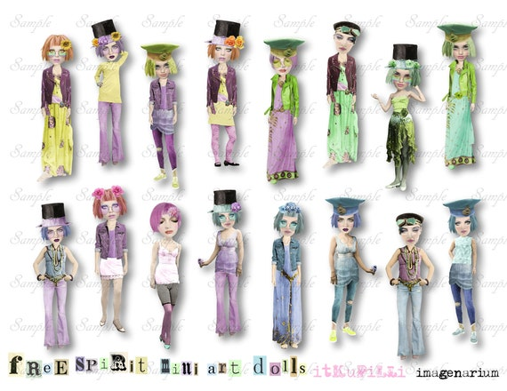 picture regarding Free Printable Collage Sheets identified as cost-free SpiRit miNi aRtDoLLs - 3.2\