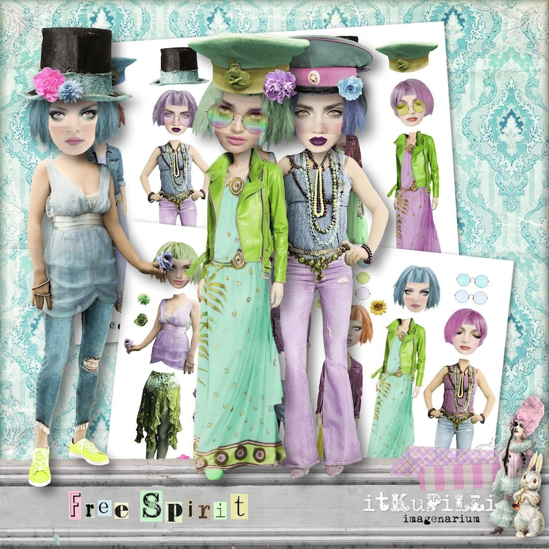 image regarding Free Printable Collage Sheets named Paper DoLLs Absolutely free Spirit - Package deal - 2 x Electronic Collage Sheet .png - Printable, Immediate Down load