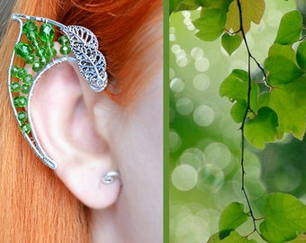 """Elven ear cuffs """"The foliage of elven forests"""". earcuff, elven ears"""
