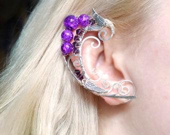 """Elven ears """"Purple elf"""", elven earcuffs, fairy ear cuffs, elvish jewelry, gift for girl, wire elf ear, summer jewelry, quasarshop"""