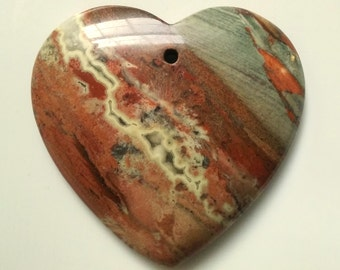 Red River Jasper Focal Bead Pendant Heart