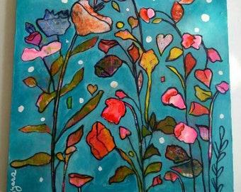Pretty in Pink original art on 8 x 8 wood panel.