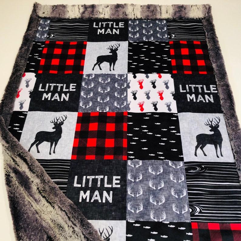 Little Man Blanket Deer Minky Blanket Antler Blanket Hunting Crib Blanket Deer Nursery Blanket Baby Boy Gift Free Shipping Red Plaid Blanket