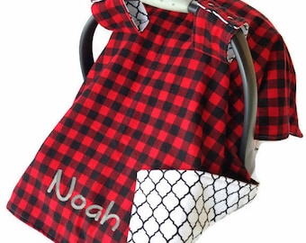 Red Buffalo Plaid Baby Boy Carseat Canopy Plaid Baby Shower Gift Infant Carseat Canopy Woodland Car Seat Cover Paul Bunyan
