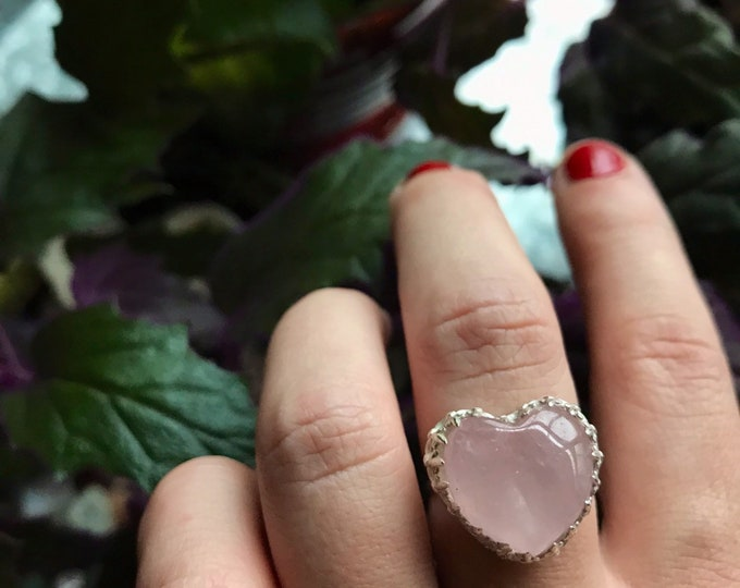Featured listing image: Rose Quartz Heart Sterling Silver Size 8.5 Ring