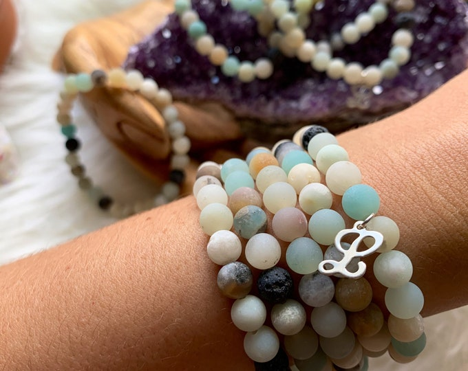 Featured listing image: In Remembrance of Lucy Wiley: Amazonite & Lava Rock 6mm Bracelets/WITH Sterling L Charm