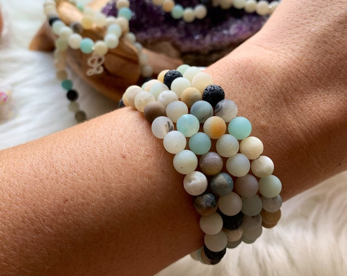 Featured listing image: In Remembrance of Lucy Wiley: Amazonite & Lava Rock 6mm Bracelets/WITHOUT Sterling L Charm