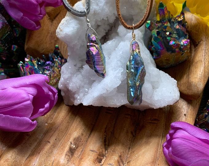 Featured listing image: Titanium Aura on Suede Necklaces