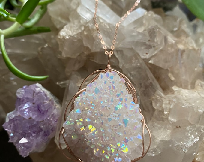 Featured listing image: Angel Aura Cluster 14k Rosegold filled Necklace