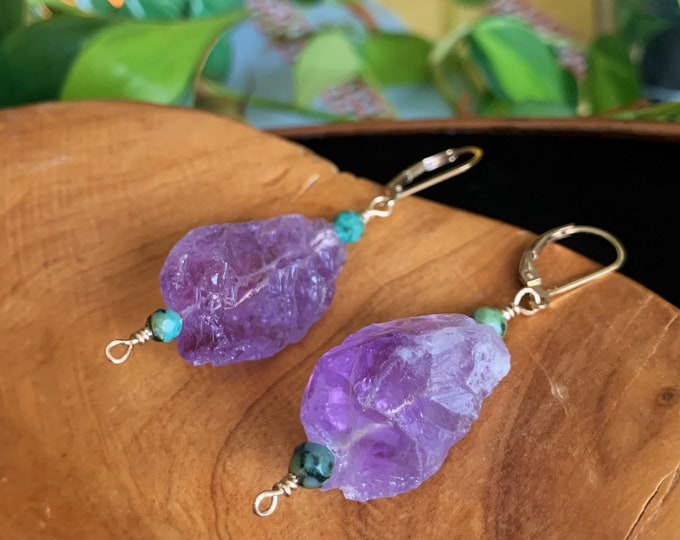 Featured listing image: Amethyst & African Turquoise 14k Gold Filled Drop Earrings