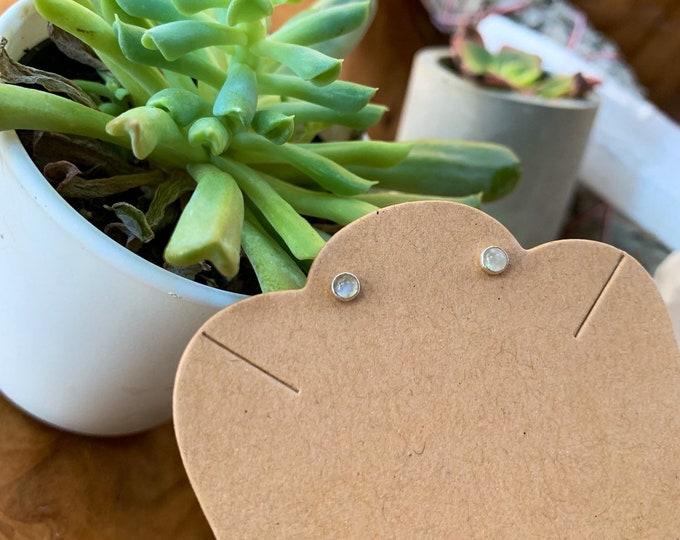 Featured listing image: Mini Moonstone Sterling Silver Stud Earrings