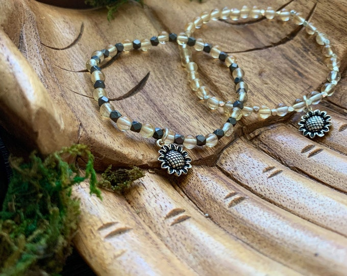 Featured listing image: Sterling Silver Sunflower Citrine and Hematite Stretchy Bracelets: proceeds to Sara's Cure