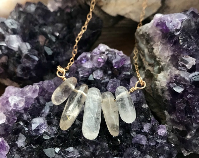 Featured listing image: 14k Gold Filled Quartz Necklace