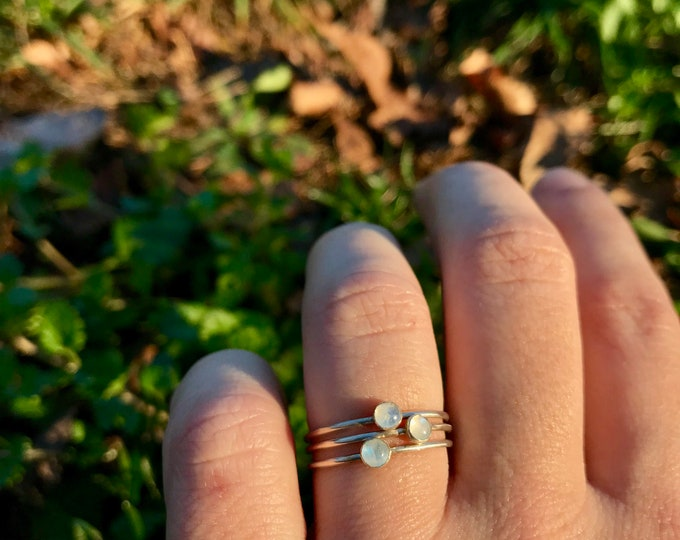 Featured listing image: Rainbow Moonstone Size 7, 7.5 & 8 Sterling Silver Rings